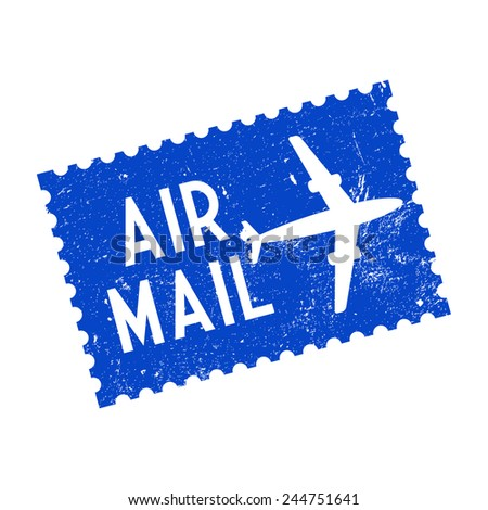Air mail, grunge stamp, vector illustration - stock vector