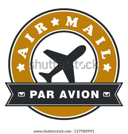 Air mail label - stock vector