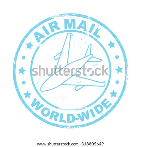 Air mail postal stamp, vector - stock vector