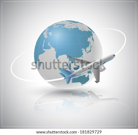 Air plane around the world. Vector 3D style can use for business transport or travel concept. Brochure advertising object, web site or printing element. - stock vector