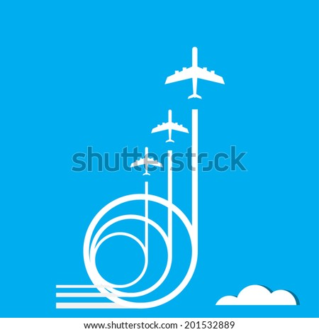 air plane flying on the blue sky and clouds background in vector format  - stock vector