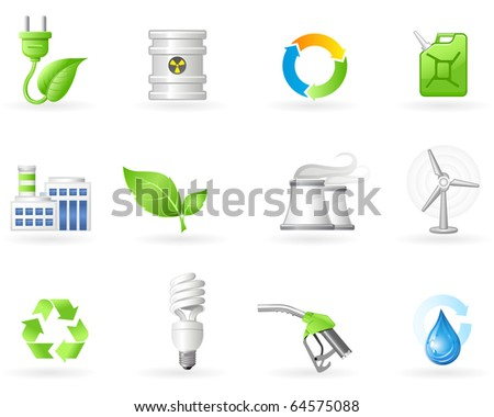 Air Pollution and Green Energy icon set - stock vector