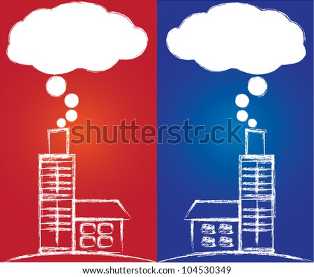 Air pollution from coal power plant ,Vector - stock vector