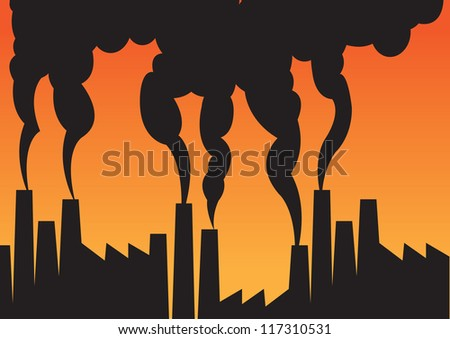 Air pollution of factories with chimneys against the sky. Vector illustration. - stock vector