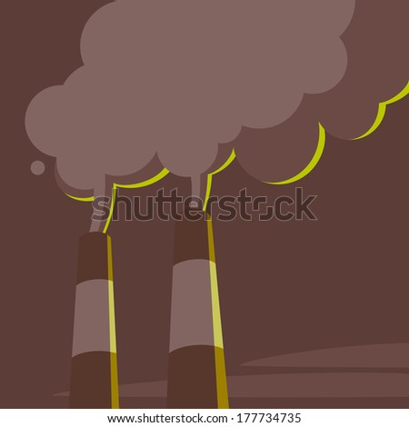 Air pollution. Power station pipes and steam - stock vector