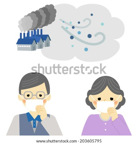 Air Pollution, senior couple / Vector EPS 10 illustration - stock vector