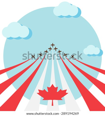 Air show for celebrate the national day of Canada - stock vector