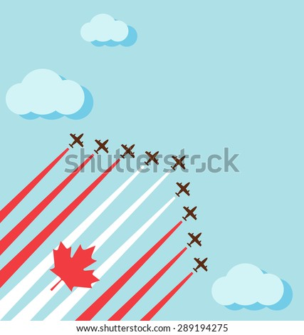 Air show on the sky for celebrate the national day of Canada - stock vector