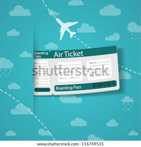 Air ticket on sky background. Vector illustration. - stock vector