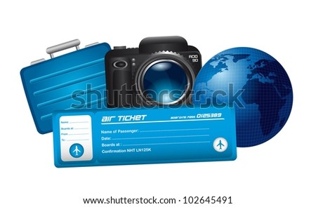 air ticket with camera, suitcase and planet isolated. vector illustration - stock vector