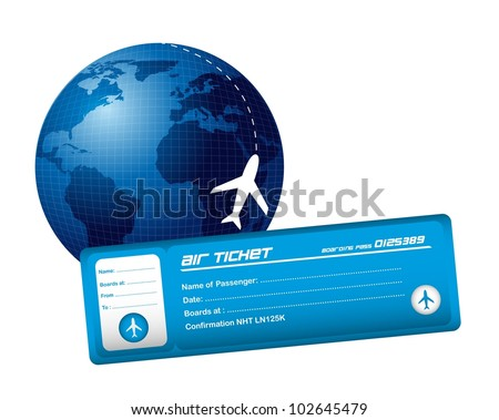 air ticket with planet and plane isolated over white background. vector - stock vector