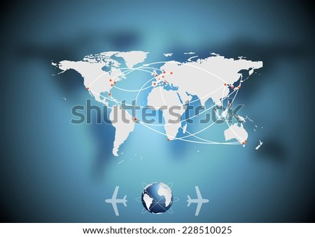 Air traffic vector blue background with world map - stock vector