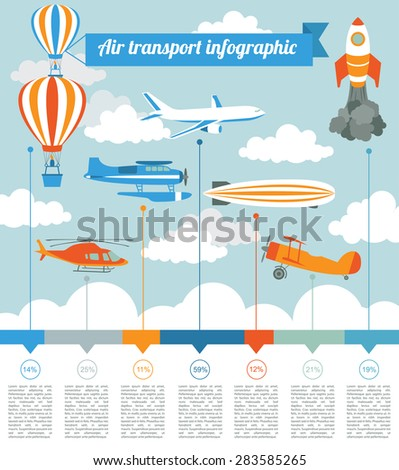 Air transport infographics elements. Retro styled illustration. Vector - stock vector