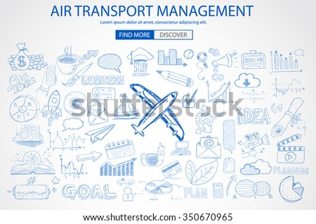 Air Transport Management Concept with Doodle design style :finding routes, monetization strategy, increase traffic. Modern style illustration for web banners, brochure and flyers. - stock vector