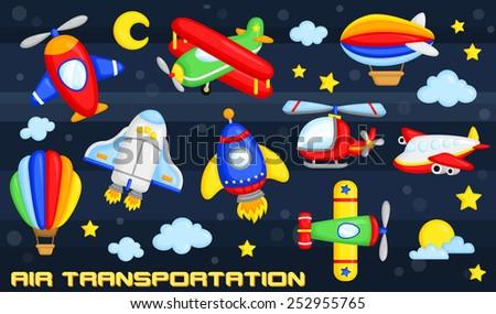 Air Transportation Vector Set - stock vector