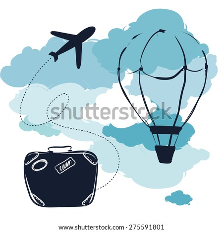 air travel - stock vector