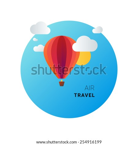 Air travel and tourism concept. Vector image of balloon in the sky - stock vector