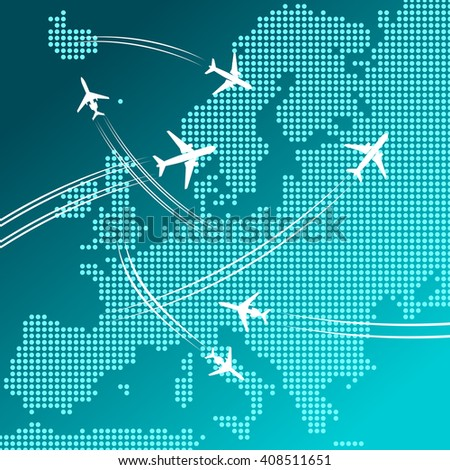 Air travel and tourism design for transportation industry, vacation planning, business trip concept with white silhouettes of airplanes flying over abstract map of Europe, composed of blue dots  - stock vector