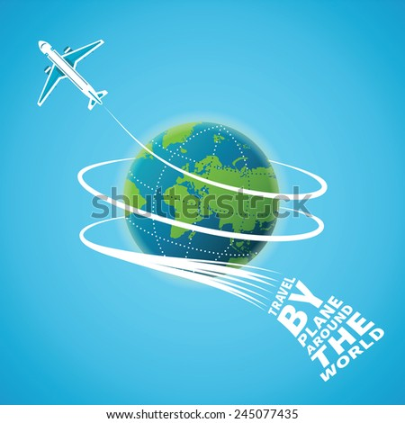 Air travel around the world vector concept - stock vector