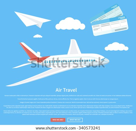 Air travel concept flying plane. Airplane and business travel, airline and air ticket, aircraft and transportation, aviation and cloud, tourism and journey, airliner illustration - stock vector