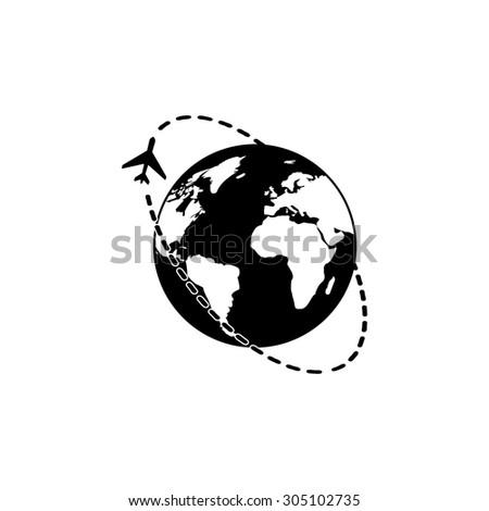Air travel destination. Black simple vector icon - stock vector