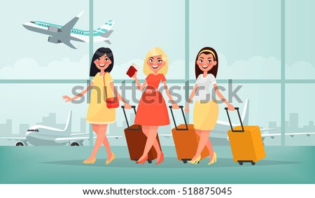 Air travel to warm countries. Three happy friends women with luggage at the airport are going on vacation. Vector illustration in cartoon style.