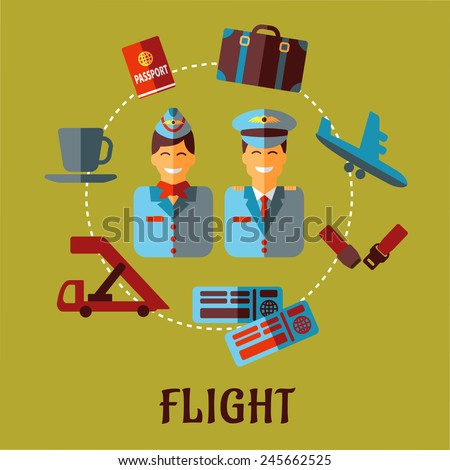 Air traveling infographic in flat style with smiling stewardess and pilot in uniforms surrounded flight icons with passport, suitcase, plane, seat belt, tickets and cup of coffee - stock vector