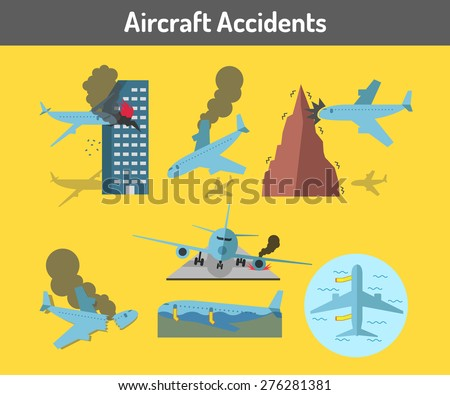 Aircraft accidents icons set  - stock vector