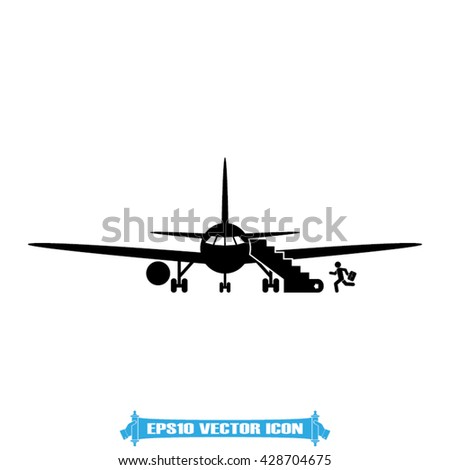 Aircraft and passenger icon vector illustration