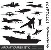 Aircraft carrier high detailed silhouettes set#2. Vector - stock photo
