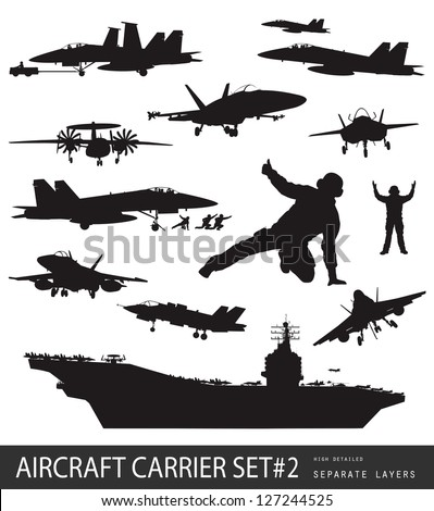 Aircraft carrier high detailed silhouettes set#2. Vector - stock vector