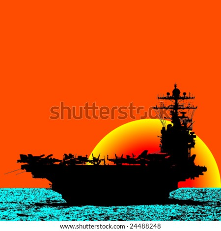 Aircraft Carrier Sailing The Ocean With Sunset Behind -Vector- - stock vector