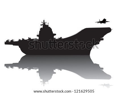 Aircraft carrier vector silhouette with reflection - stock vector