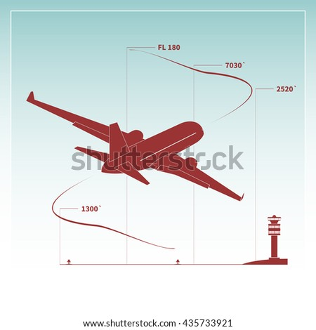 Aircraft climbs after take off. Vector illustration - stock vector