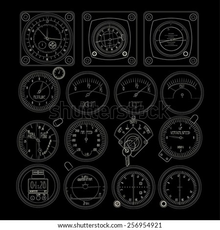 Aircraft dashboard instruments outlined over black background - stock vector