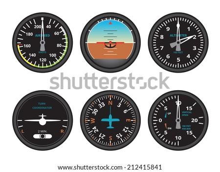 aircraft gauges - stock vector