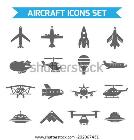 Aircraft helicopter military aviation airplane black icons set isolated vector illustration - stock vector