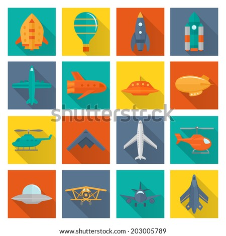 Aircraft helicopter military aviation airplane flat shadowed icons set isolated vector illustration - stock vector