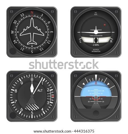 Aircraft Instruments Set - stock vector