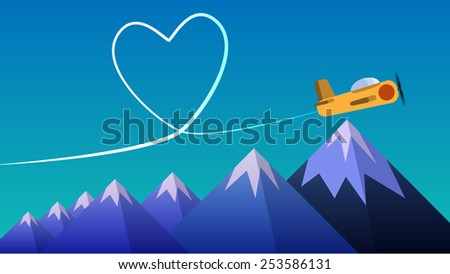 Aircraft make love symbol on sky with rock's. In flat style.  Vector, EPS10. - stock vector