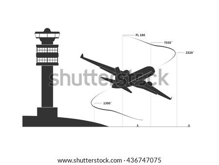 Aircraft on climbing phase. Vector illustration - stock vector