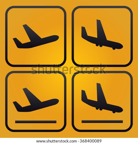 Aircraft or Airplane, Arrivals Departure pictograms, yellow background - stock vector