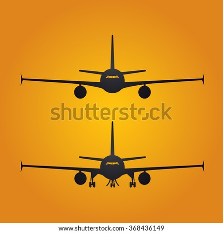 Aircraft or Airplane Icon, Flat Minimal Vector Silhouette on yellow background
