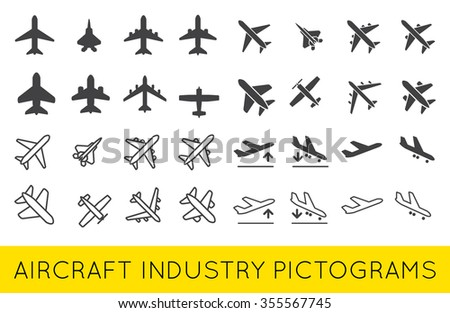 Aircraft or Airplane Icons Set Collection Vector SilhouetteSet Colletion - stock vector