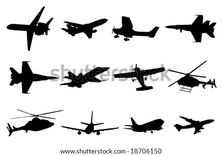 Aircraft silhouettes - stock vector