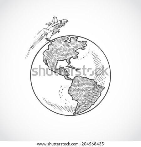 Aircraft space vehicle flying around the globe sketch icon isolated on white background vector illustration - stock vector