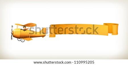 Aircraft, vector banner - stock vector