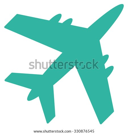 Aircraft vector icon. Style is flat cyan symbol, rounded angles, white background.