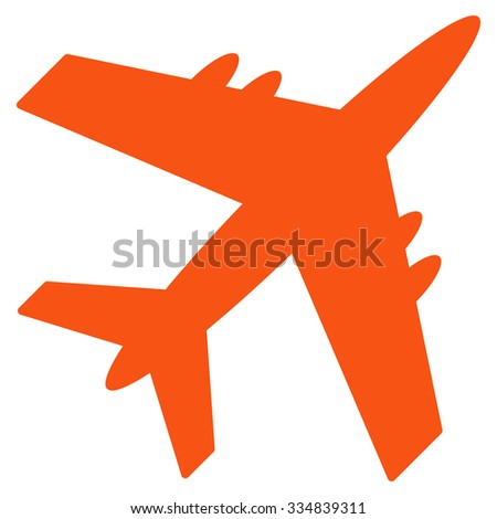 Aircraft vector icon. Style is flat orange symbol, rounded angles, white background.