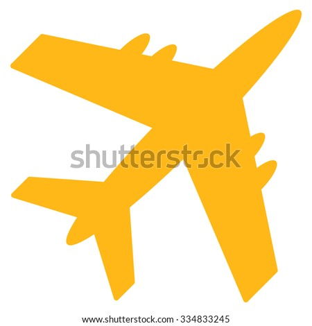 Aircraft vector icon. Style is flat yellow symbol, rounded angles, white background.
